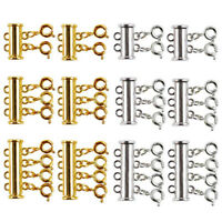 12 Pieces There Size Necklaces Slide Magnetic Tube Lock Clasps Gold and Sil O3F6