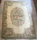 """Vintage Occupied Japan Hand Woven Hooked Rug Floral Wool Yarn 74"""" x 47 1/4"""" RR2"""
