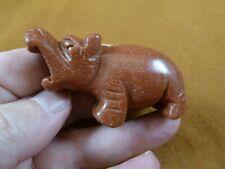 (Y-Hip-722) Goldstone roaring Hippo Gemstone carving figurine Hippopotamus