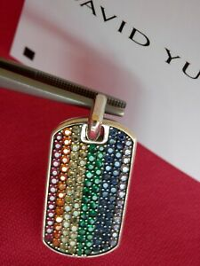 David Yurman Sterling Silver 35mm Streamline Rainbow Pavé Tag Pendant $2,500+