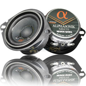 "Alphasonik 2.75"" 2 Way Full Range Speakers 90 Watts Max Power 3 Ohm NS275 Pair"