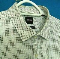 HUGO BOSS Shirt Grey Geo Stripe Slim Fit Cotton Size XL RRP £79 TR 317