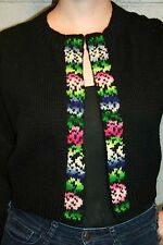 L Black Hand Knit Vtg 50s Cropped Open Front Rockabilly Sweater Cardigan