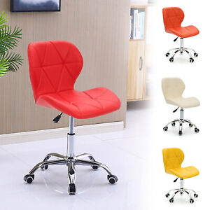 Cushioned Computer Desk Chrome Legs Lift Swivel Small Adjustable Office Chair