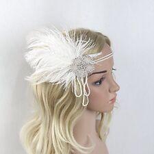 White 1920s Flapper Headband FEATHER Crystal Vintage Fascinator Headpiece Racing