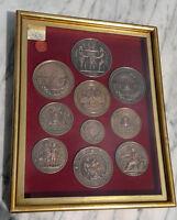 Antique Medals~Studs Display Case Paris Exposition~Netherlands~Bruxelles