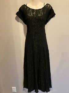 Women's Vtg ALL THAT JAZZ Black Lace Over Slip Low Back Goth Dress Size L