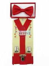 Kids Halloween Red Suspenders Bow Tie Combo Set Tuxedo Classic Wedding Costume