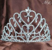 Heart Style Tiara Hair Combs Wedding Bridal Crown Rhinestone Pageant Prom Party