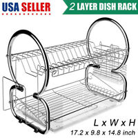2-Tier Dish Drying Rack Stainless Steel Drainer Kitchen Storage Space Saver