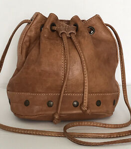 RIVER ISLAND Small Real Leather Tan Distressed Drawstring Bucket Shoulder Bag