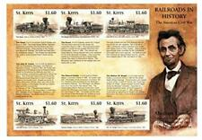 VINTAGE CLASSICS - St. Kitts 0101 Civil War Railroads - Sheet Of 6 - MNH