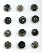"""12 FANTASTIC BLACK GLASS buttons-VARIETY of PATTERNS--SILVER LUSTER--9/16"""""""