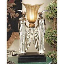PD331 Art Deco Peacock Maidens Illuminated Sculpture/Statue Lamp