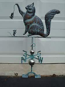 LARGE Handcrafted 3Dimensional  CAT and mouse Weathervane Copper Patina Finish