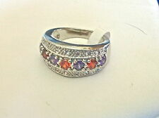 LOVELY STERLING SILVER RING ALTERNATING PURPLE & RED STONES SIZE 6 NEW TAGS