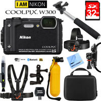 Nikon COOLPIX W300 16MP 4k Ultra HD Digital Camera Black with 32GB Card Bundle