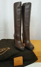 TOD'S STIVALE Tall Boots Dark Brown Leather Pull On sz 40.5 EU 10.5 US NIB $995
