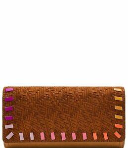 Fossil Logan RFID Flap Clutch Wallet Leather Woven Tan Pink Trim NWT