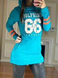 NFL Miami Dolphins Pullover Lightweight Terry Extra Long Hoodie, Teal, Women's S