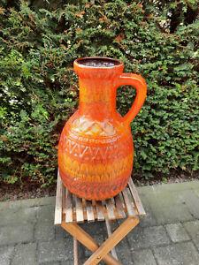 Bodenvase mit Henkel Retro orange 70 80 Jahre