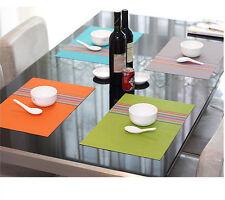 Set of 4 Adiabatic Placemat Dining Table PVC Mat Rainbow Stripe Fashion Homeware