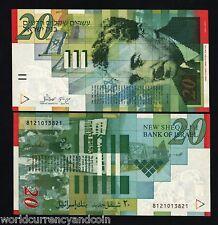 ISRAEL 20 SHEKEL P59 1998 MOSHE FLAG UNC PALESTINE CURRENCY MONEY BILL BANK NOTE