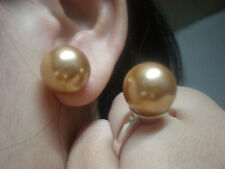 jem:15mm CHAMPAGNE SOUTH SEA SHELL PEARLS EARRINGS RING