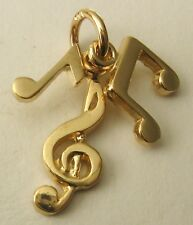 GENUINE SOLID  9ct  9K  Yellow Gold  3  MUSICAL NOTES  CHARM/PEN  RRP $149