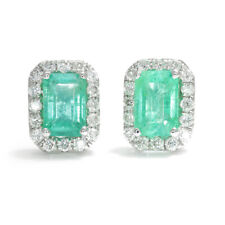 Emerald Halo Earrings with Diamonds 14K White Gold 1.16ctw