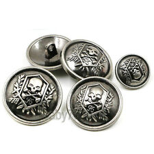 10pcs Skull Crossbones Round Shank Metal Buttons Sewing Craft Coat Embellishment