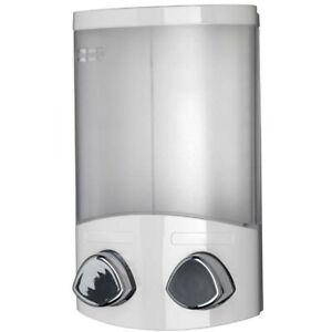 Double Soap Dispenser Shampoo Shower Gel Conditioner Bathroom Pump White Croydex