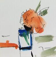 "JOSE TRUJILLO - Modernism Watercolor Painting SIGNED Small 3x3"" Minimalist"