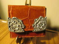 Glen Miller for Ann Turk Brown Mini Leather Croc Embossed Wallet NEW