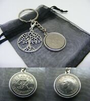 1950 Lucky Sixpence & Tree Of Life Two Sided Keyring - 70th Birthday Gift (SK01)