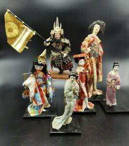 LOT 6 anciennes POUPEES JAPON ASIE CHINE - OLD CHIKUSHI DOLLS SAMURAI JAPANESE