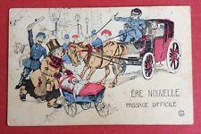 CPA. Illustrateur GRIMER. Ère Nouvelle. 1907. Attelage. Voiture Bébé.  Gendarme.