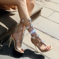 Women Knee High Summer Boots Heels Cut Out Sandals Clear Strappy Gladiator Shoes