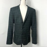 Forever 21 Men Medium Green Black Check Plaid Blazer Jacket