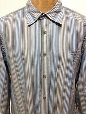 Faconnable Jeans Mens XL Facoclub Blue Gray Striped Long-Sleeve Cotton Shirt