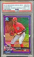 2018 Chrome PURPLE REFRACTOR Nats JUAN SOTO RC Card /250 PSA 10 GEM MINT Pop 34