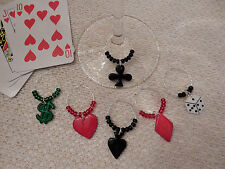 """""""CARDS/POKER"""" SET OF 6  HAND CRAFTED Wine Glass Charm drink markers"""