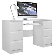 KUBA white computer desk with 6 drawers