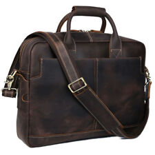 New Men 100% Cowhide Leather Briefcases Dark Brown Laptop Shoulder Attache Bag