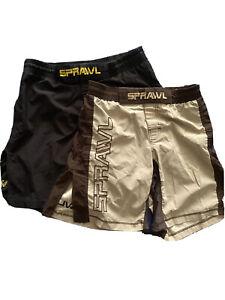 Lot Of 2 SPRAWL Mixed Martial Arts MMA Shorts Split Seam Size 30 Brown Black UFC