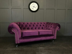 2 Seater Chesterfield Sofa Velvet Fabric Plush Couch Settee Living Room Lounge