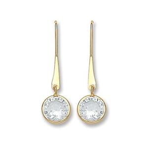 9ct Yellow Gold Brilliant Cut Cz Solitaire Hook Drop Earrings Size 20mm x 6mm