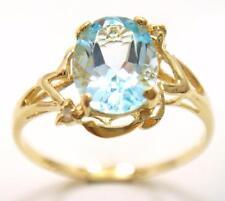 NICE 10KT YELLOW GOLD BLUE TOPAZ & DIAMOND RING SIZE 7    R1074