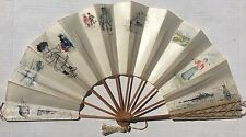 Antique 1920 Hand Painted VELLUM FAN Watercolor Pen Ink Salt Island WESTBROOK CT