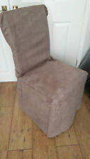 6 x  Luxury Chair Covers TAUPE BROWN MINK Faux suede  FREE POSTAGE